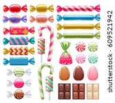 set of sweets on white... | Shutterstock .eps vector #609521942