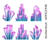 colorful assorted crystals set. ... | Shutterstock .eps vector #609521948