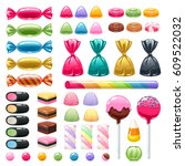 set of sweets on white... | Shutterstock .eps vector #609522032