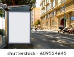 blank billboard on bus stop ... | Shutterstock . vector #609524645