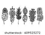 vector set of hand drawn... | Shutterstock .eps vector #609525272
