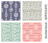 set of seamless vector pattern. ... | Shutterstock .eps vector #609531692