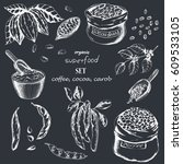 vector food set with cocoa ... | Shutterstock .eps vector #609533105