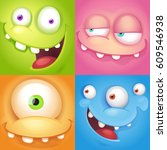 cartoon monster faces | Shutterstock .eps vector #609546938