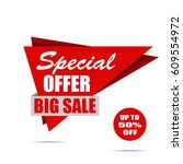 big sale banner. red discount... | Shutterstock .eps vector #609554972
