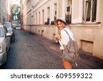 travel guide. young female... | Shutterstock . vector #609559322