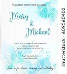 wedding invitation template... | Shutterstock .eps vector #609560402