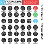ecology circle white black... | Shutterstock . vector #609564878