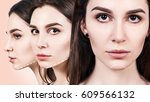 faces of young woman with... | Shutterstock . vector #609566132