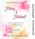 wedding invitation template... | Shutterstock .eps vector #609566702