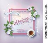 spring advertising banner of... | Shutterstock .eps vector #609568886