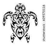 turtle tattoo in maori ethnic... | Shutterstock .eps vector #609570116