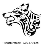 wolf tribal tattoo in maori... | Shutterstock .eps vector #609570125