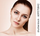 young woman's face with clean... | Shutterstock . vector #609570842