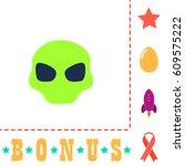 alien head simple vector button.... | Shutterstock .eps vector #609575222