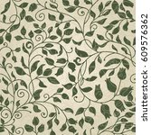 seamless vintage pattern in... | Shutterstock .eps vector #609576362