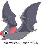 happy flying bat cartoon  | Shutterstock .eps vector #609579866