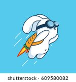 flying jetpack rocket rabbit... | Shutterstock .eps vector #609580082