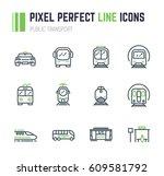 set of 12 public transport thin ... | Shutterstock .eps vector #609581792