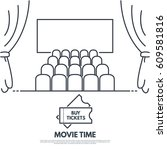 cinema premiere line style... | Shutterstock .eps vector #609581816