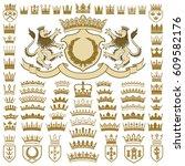 heraldic crests and crowns... | Shutterstock .eps vector #609582176