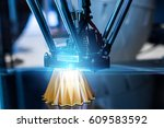 3d printing machine during work ... | Shutterstock . vector #609583592