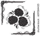 a beautiful bouquet of dahlias... | Shutterstock .eps vector #609584435