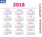 english calendar 2018 ... | Shutterstock .eps vector #609587072