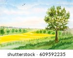 watercolor landscape background ... | Shutterstock . vector #609592235