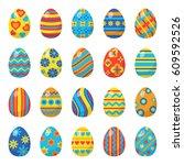 easter eggs for easter holidays ... | Shutterstock .eps vector #609592526