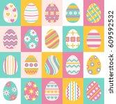 easter eggs for easter holidays ... | Shutterstock .eps vector #609592532