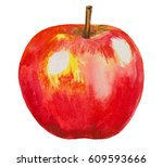 red watercolor apple fruit on... | Shutterstock . vector #609593666