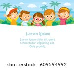 children at the summer camp | Shutterstock .eps vector #609594992