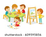 children drawing and... | Shutterstock .eps vector #609595856