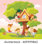 illustration with summer... | Shutterstock .eps vector #609595862