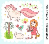 doodles cute elements  spring... | Shutterstock .eps vector #609596402