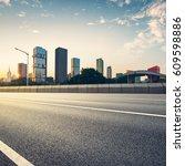 empty asphalt road of a modern... | Shutterstock . vector #609598886