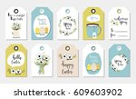 easter gift tags with cute with ... | Shutterstock .eps vector #609603902