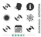 hands insurance icons. human... | Shutterstock .eps vector #609605966