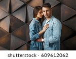 beautiful couple in fashionable ... | Shutterstock . vector #609612062