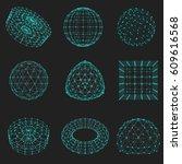 set of wireframe polygonal... | Shutterstock .eps vector #609616568