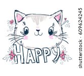 hand drawn cute cat sketch  | Shutterstock .eps vector #609624245