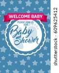 blue welcome baby shower... | Shutterstock .eps vector #609625412