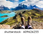 girl hiking boots having fun... | Shutterstock . vector #609626255