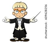 cartoon young conductor in... | Shutterstock .eps vector #609628256