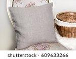 canvas pillow  cushion on a... | Shutterstock . vector #609633266