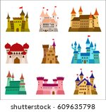 castles and fortresses flat...   Shutterstock .eps vector #609635798