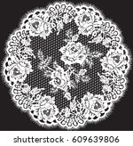 vector lace circle frame | Shutterstock .eps vector #609639806