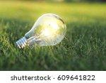 eco concept   lightbulb in... | Shutterstock . vector #609641822