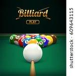 billiard table front view balls ... | Shutterstock .eps vector #609643115